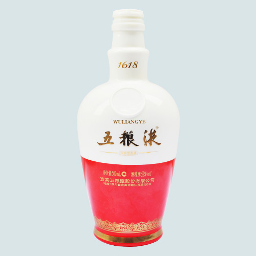 五粮液乳白烤花陶瓷酒瓶